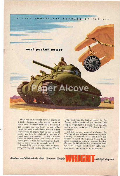Wright Aircraft Engines 1944 vintage original old magazine ad WWII war effort tank Cyclone Whirlwind