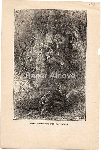 Daniel Boone Rescues the Galloway Sisters 1883 old vintage antique engraving print Huyot Huyat