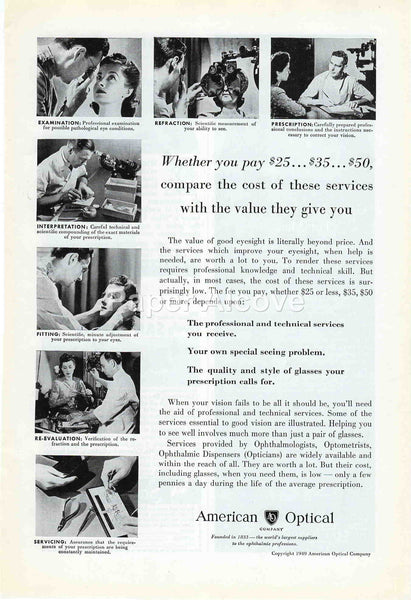 American Optical Co. 1949 vintage original paper advertising largest supplier to ophthalmic professions eye doctor