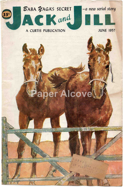 Jack and Jill June 1957 old vintage magazine cover only horses