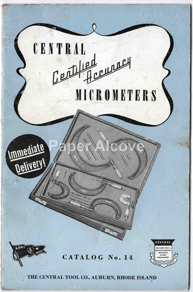 Central Micrometers Catalog No. 14 1930s vintage original The Central Tool Co. Auburn RI