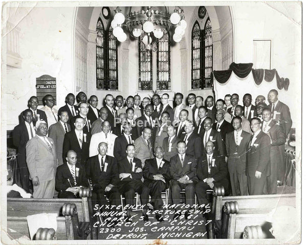 Church of Christ Detroit MI men 1961 vintage original 8x10 photograph African American Church of God in Christ Black Americana
