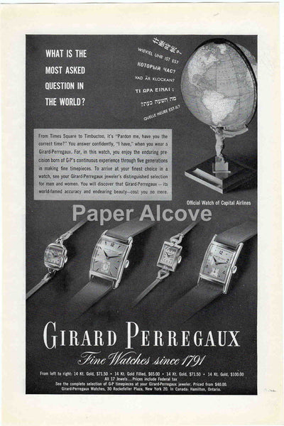 Girard Perregaux 1949 vintage original paper advertising watches Capital Airlines Atlas holding globe