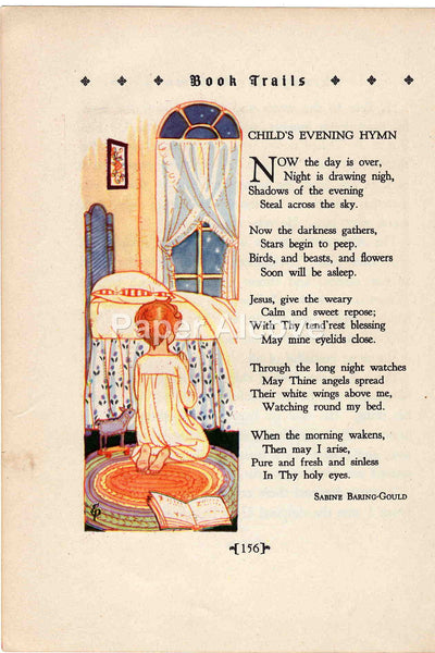 Child's Evening Hymn 1928 Antique Print Sabine Baring-Gould Praying Child Children's Book Illustration Nursery Decor