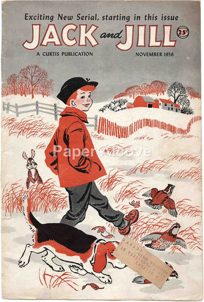 Jack and Jill November 1956 old vintage magazine cover only boy farm field grouse dog