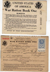 WWII United States War Ration Books One and Two lot of 2 1942 vintage original old Tiffin Columbus Ohio
