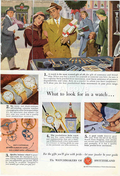 Watchmakers of Switzerland 1949 vintage original paper advertising Swiss watches Christmas window shopping