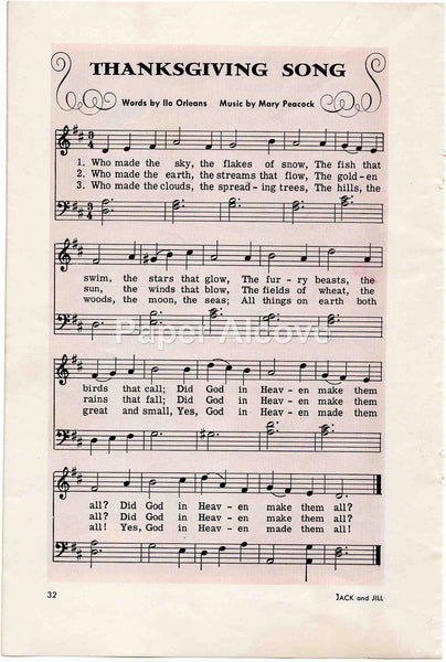 Thanksgiving Song 1956 old vintage sheet music page by Ilo Orleans & Mary Peacock print