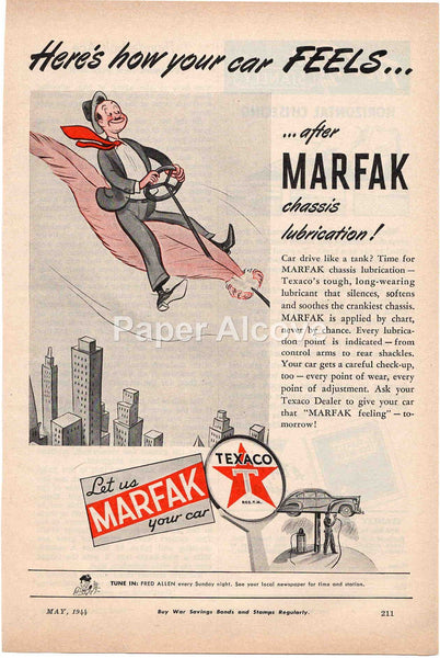 Marfak Chassis Lubrication Texaco 1944 vintage original old magazine ad petroliana gas and oil