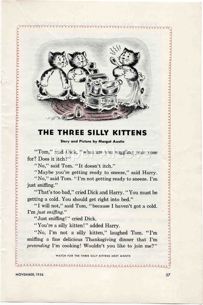 Three Silly Kittens Thanksgiving 1956 old vintage print Margot Austin illustrated page