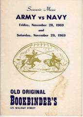 Army vs Navy Football Game November 1969 Old Original Bookbinder's Philadelphia Souvenir Menu