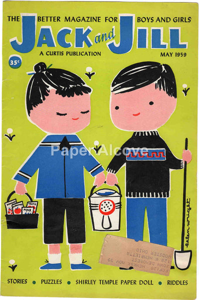 Jack and Jill May 1959 old vintage magazine cover only boy girl gardening Helen Wright