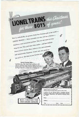 Lionel Trains PRR Santa Fe 1949 vintage original paper advertising toy Christmas for those boys of yours