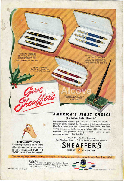 Sheaffer's Pens Pencils Gift Sets 1949 vintage original paper advertising W.A. Sheaffer Pen Co. Fort Madison IA