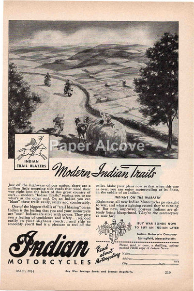 Indian Motorcycles 1944 vintage original old magazine ad Indian Motorcycle Company Springfield MA WWII war effort horses farm