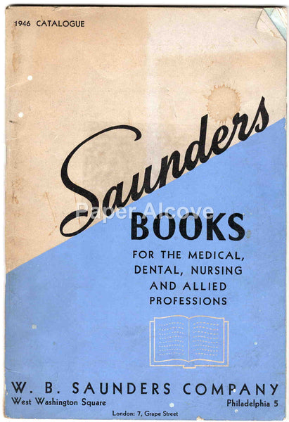 W.B. Saunders Company 1946 vintage original catalog medical dental nursing book publisher Philadelphia PA