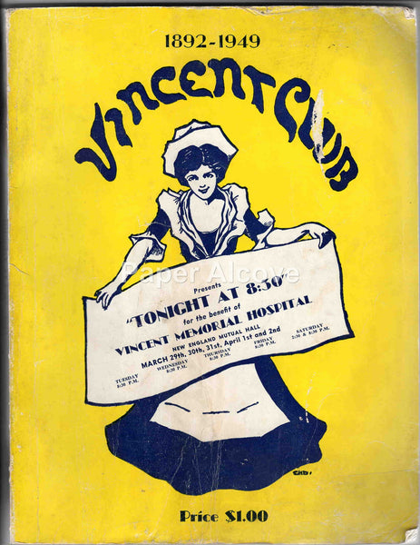 Vincent Club 1949 vintage original benefit program Boston MA