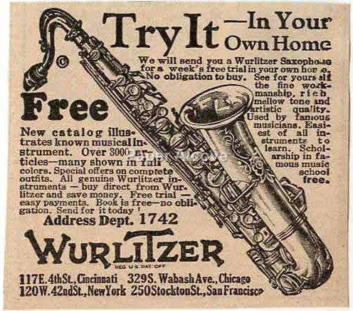 Wurlitzer Saxophone 1925 vintage original paper advertising sax Cincinnati OH jazz