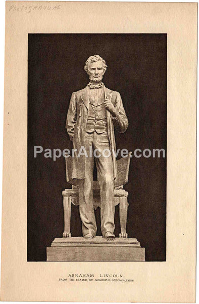 Abraham Lincoln vintage c. 1880-1915 original antique photogravure print from the statue by Augustus Saint-Gaudens United States President
