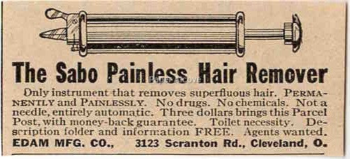 Sabo Painless Hair Remover quack medicine device 1925 vintage original paper advertising Edam Mfg. Cleveland OH