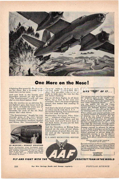 U.S. Army Air Forces AAF 1944 vintage original old magazine ad WWII The Exterminator B-26 bomber airplane