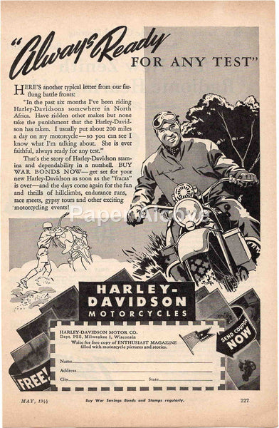 Harley-Davidson Motorcycles 1944 vintage original old magazine ad Milwaukee WI WWII war effort
