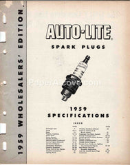 Auto-Lite Spark Plugs Specifications 1959 original vintage guidebook catalog