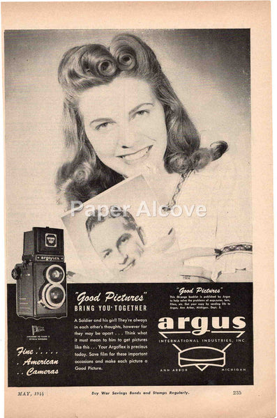 Argus Argoflex camera 1944 vintage original old magazine ad photography woman 40s hairdo Ann Arbor MI