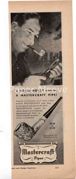 Mastercraft tobacco smoking pipe 1944 vintage original old magazine ad man cave