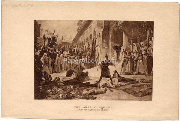 Arab Conquest vintage late 19th Century original photogravure print from a painting by Georges Clairin