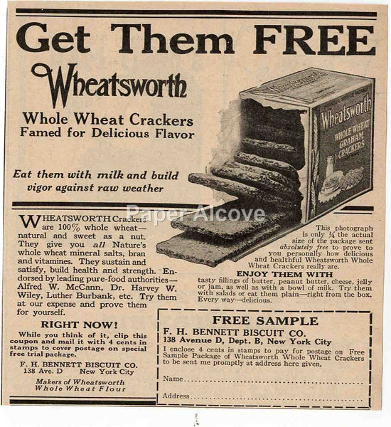 Wheatsworth Whole Wheat Crackers 1925 vintage original paper advertising F.H. Bennett Biscuit Co. New York