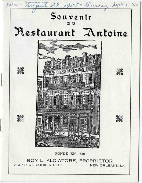 Souvenir of Restaurant Antoine 1955 vintage old brochure New Orleans LA
