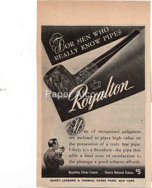 Royalton Silver Crown tobacco smoking pipe 1944 vintage original old magazine ad Henry Leonard & Thomas Ozone Park NY