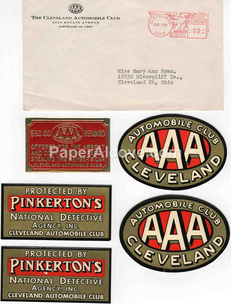 AAA Cleveland Automobile Club 1953 set of vintage original old stickers decals Pinkerton's + postal cover