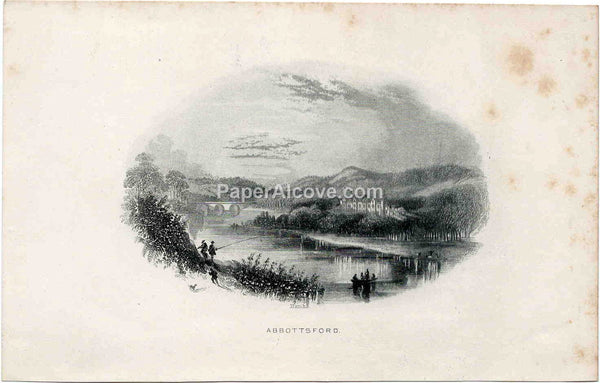 Abbotsford vintage 19th Century original antique engraving print Sir Walter Scott England