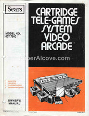 Sears Cartridge Tele-Games System Video Arcade Model 637.75001 1980 Operator's Manual