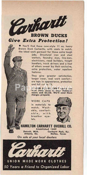 Carhartt Brown Ducks Overalls 1944 vintage original old magazine ad Hamilton Carhartt Overall Co. Detroit MI union made organized labor