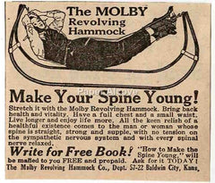 Molby Revolving Hammock 1925 quack medicine vintage original paper advertising Baldwin City KS