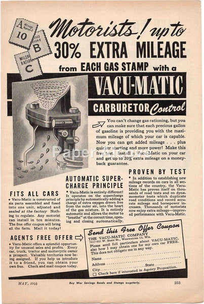 Vacu-Matic Carburetor Control 1944 vintage original old magazine ad Wauwatosa WI car