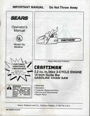 Sears Craftsman Chainsaw Model 358.352161 1996 Operator's Manual