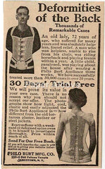 Philo Burt Mfg. 1925 quack medicine back brace vintage original paper advertising Jamestown NY