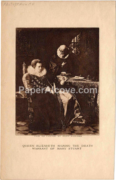 Queen Elizabeth Signing the Death Warrant of Mary Stuart vintage late 19th Century original photogravure print from a painting by Julius Schrader