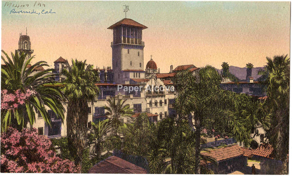 Mission Inn 1951 hand-colored souvenir vintage old photo The Cloister Art Shop Riverside CA