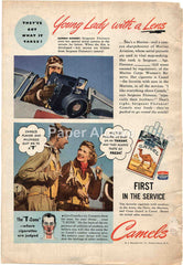Camel Cigarettes Marine Corps Women's Reserve camera sharpshooter 1944 vintage original old magazine ad WWII airplane