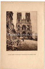Notre Dame of Rheims, at the End of the World War vintage c.1918-1930s old original photogravure antique print France WWI