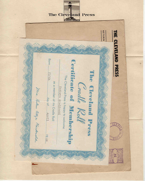 Cleveland Press Cradle Roll 1944 correspondence letterhead postal cover lot