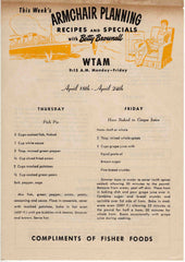 Fisher Foods WTAM Radio Cleveland Betty Brownell 1940s Armchair Planning Recipes