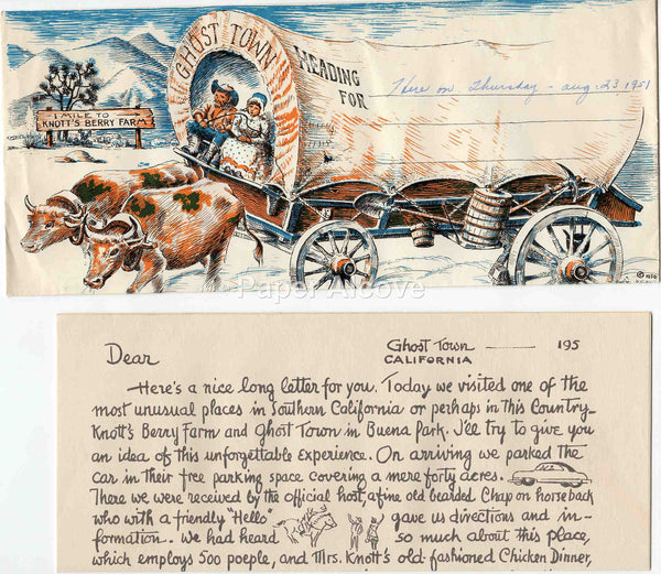 Knott's Berry Farm Ghost Town 1950 vintage old souvenir letter and envelope covered wagon amusement park