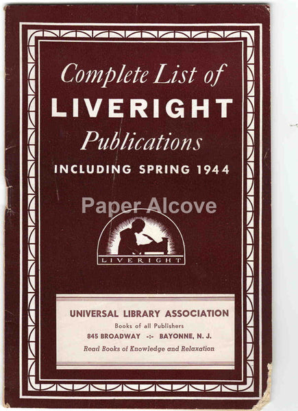 Liveright Publications 1944 vintage original book publisher catalog Bayonne NJ