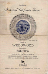 Wedgwood Historical California Scenes Plates Barker Bros. Los Angeles 1930s brochure